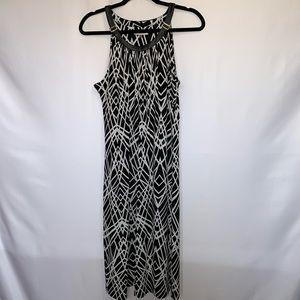 Calvin Klein Black and White Halter Womens Dress